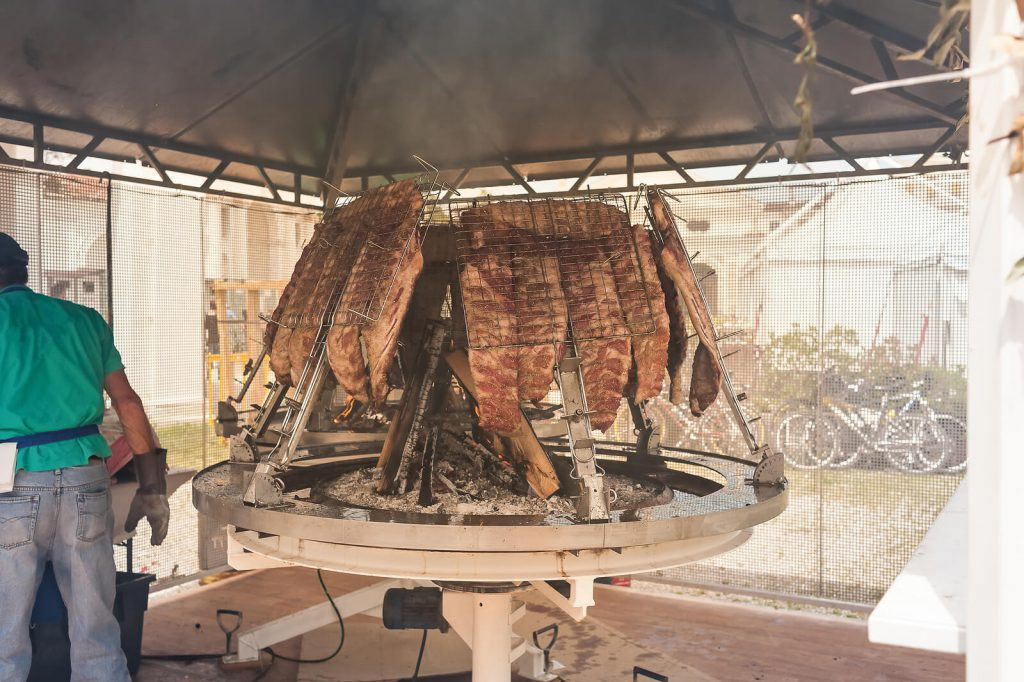 Meat being roasted in Argentina