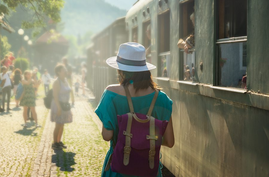 A picture of a young lady travelling through South America by train.