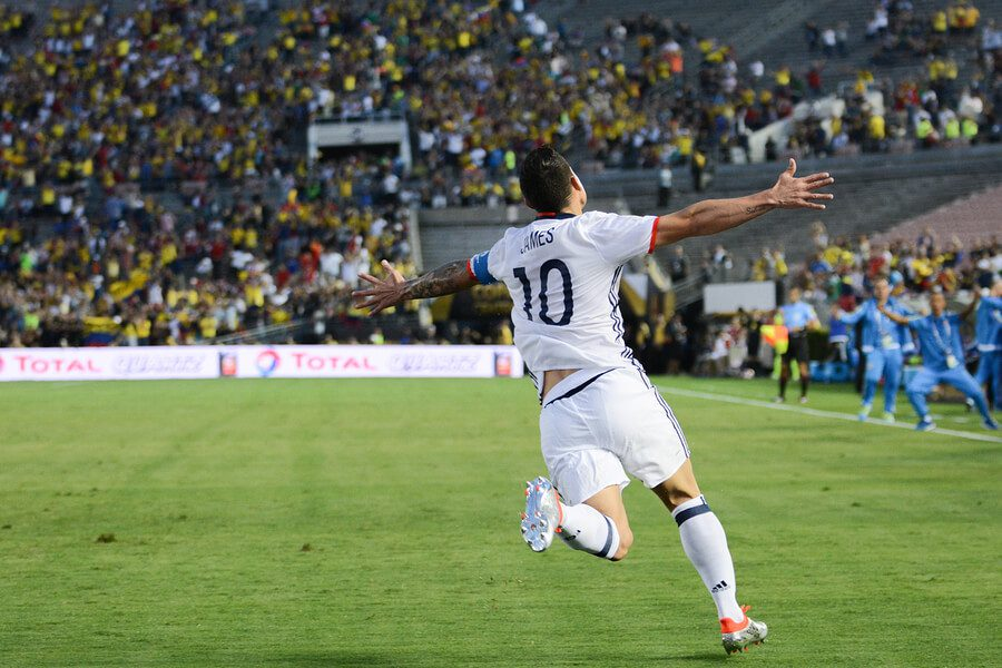 James Rodriguez celebrates a goal for Colombia.